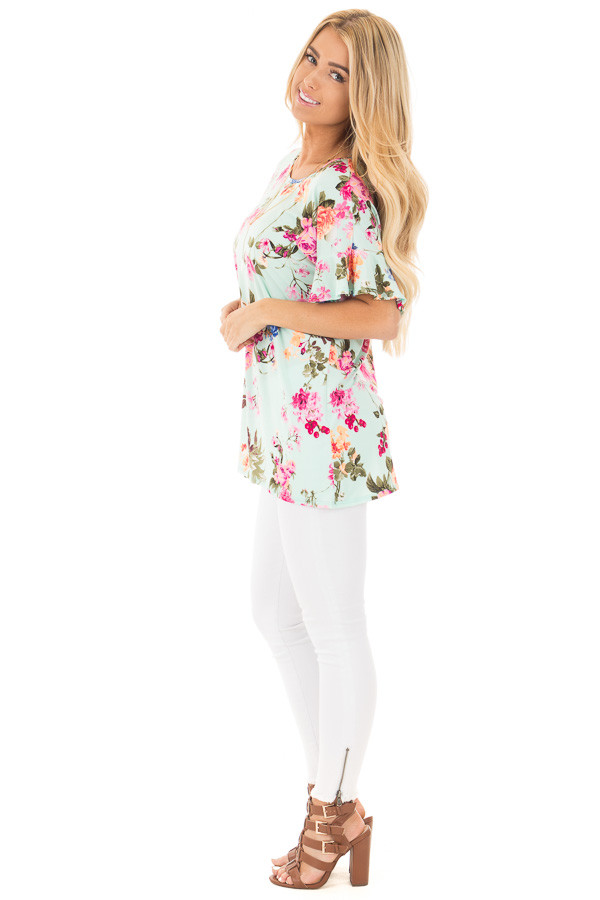 Mint Ruffle Sleeve Loose Fit Top with Fuchsia Floral Print side full body