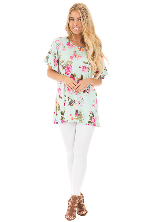 Mint Ruffle Sleeve Loose Fit Top with Fuchsia Floral Print front full body