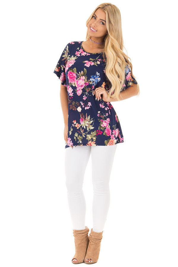 Navy Ruffle Sleeve Loose Fit Top with Fuchsia Floral Print front full body