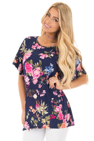 Navy Ruffle Sleeve Loose Fit Top with Fuchsia Floral Print front close up