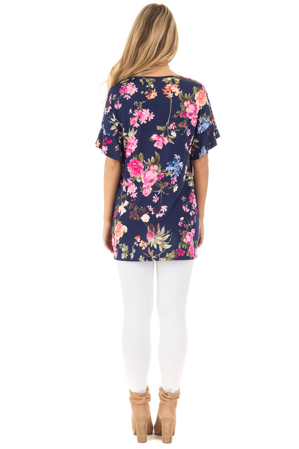 Navy Ruffle Sleeve Loose Fit Top with Fuchsia Floral Print back full body