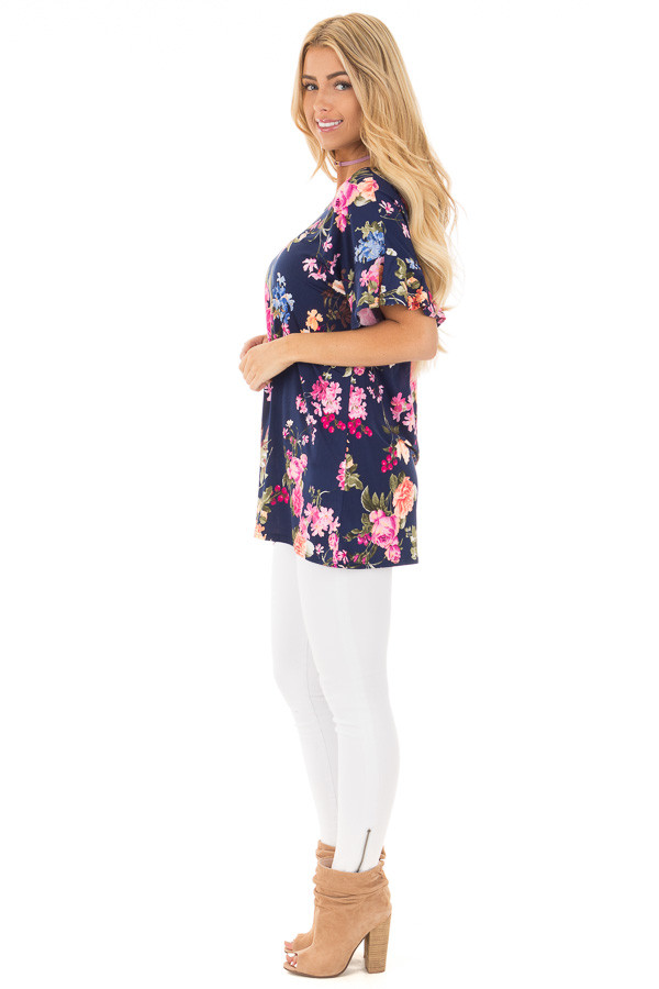 Navy Ruffle Sleeve Loose Fit Top with Fuchsia Floral Print side full body