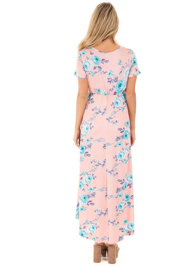 Blush Short Sleeve Floral Print High-Low Maxi Dress back full body