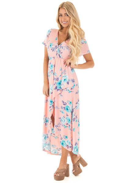 Blush Short Sleeve Floral Print High-Low Maxi Dress front full body