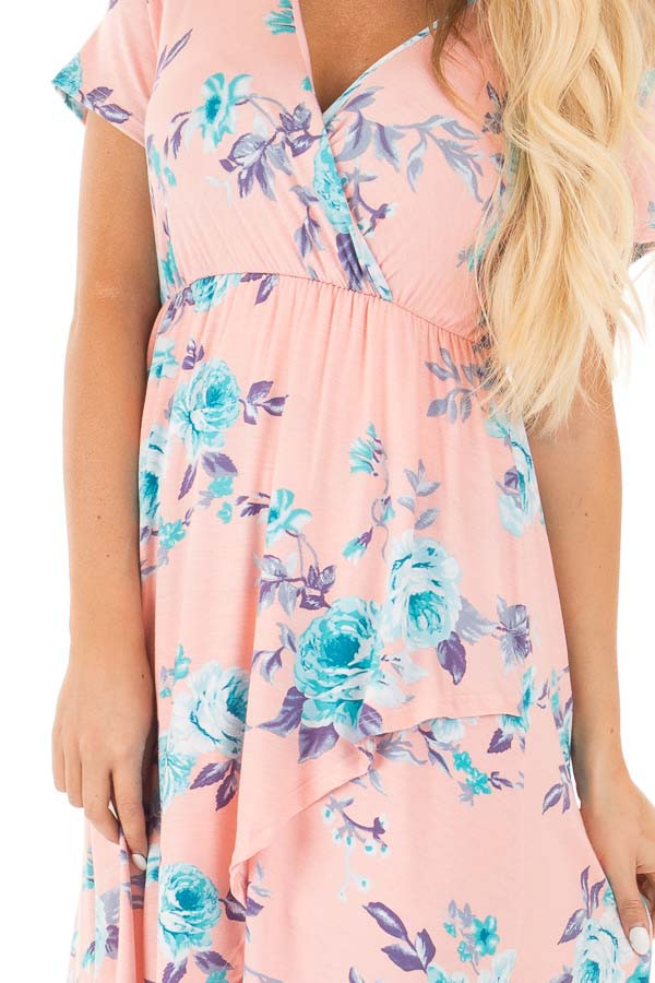Blush Short Sleeve Floral Print High-Low Maxi Dress detail