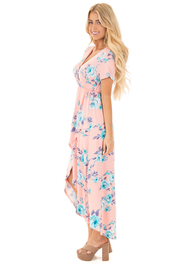 Blush Short Sleeve Floral Print High-Low Maxi Dress side full body