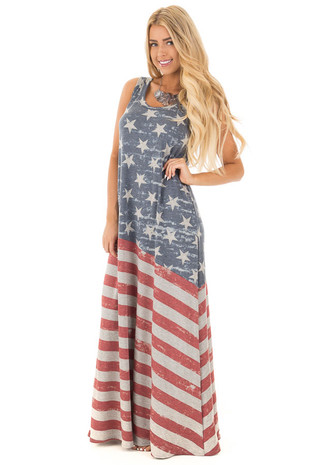 Faded Stars and Stripes Sleeveless Maxi Dress front full body
