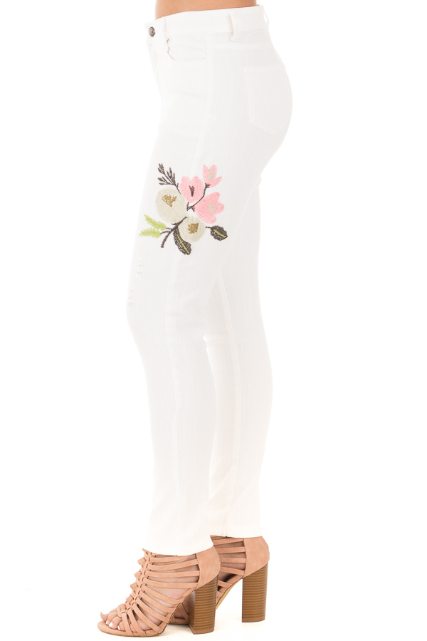 White Skinny Style Embroidered Floral Pants side left leg