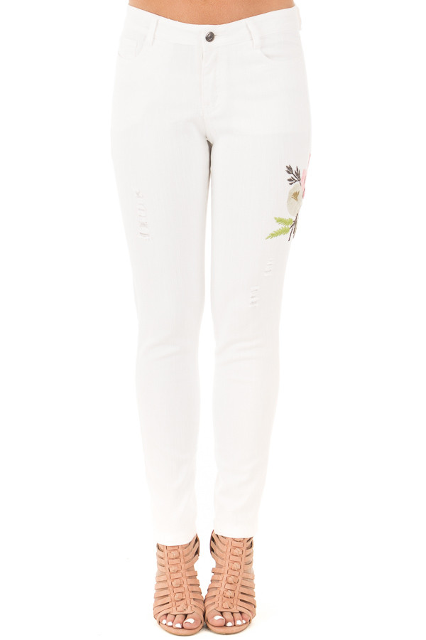 White Skinny Style Embroidered Floral Pants front view