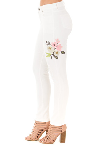 White Skinny Style Embroidered Floral Pants side right leg