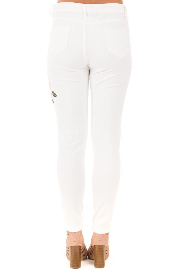 White Skinny Style Embroidered Floral Pants back view