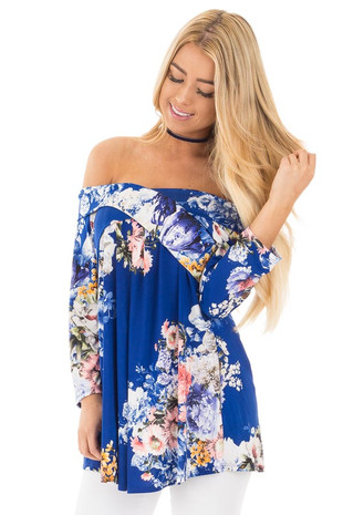 Royal Blue Floral Print Off Shoulder Cross Over Top front close up