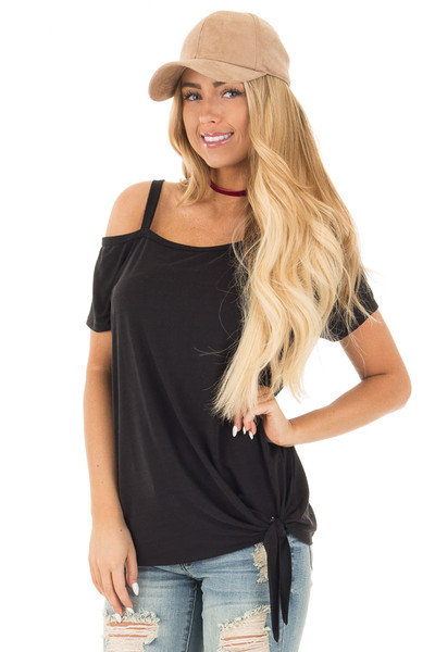 Black Tie Front Top with Off Shoulder Strap and Raw Hem front close up