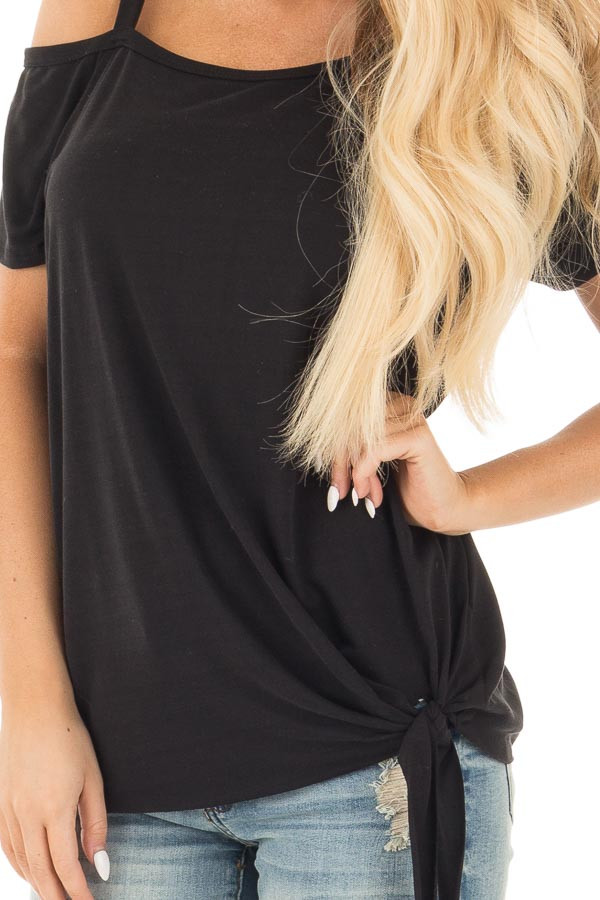 Black Tie Front Top with Off Shoulder Strap and Raw Hem detail