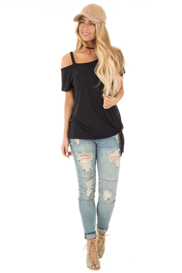 Black Tie Front Top with Off Shoulder Strap and Raw Hem front full body