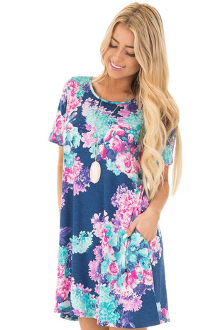 Navy Floral Print Short Sleeve Swing Dress front close up