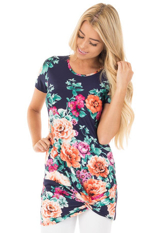 Navy Bordered Floral Print with Twisted Bottom Tunic Top front close up