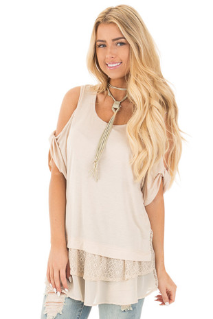 Taupe Cold Shoulder Tunic with Lace Contrast front close up