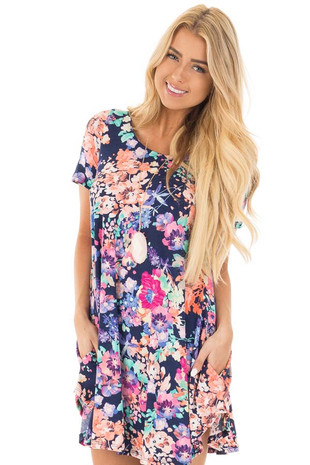 Navy Multi Floral Cap Sleeve Swing Dress front close up