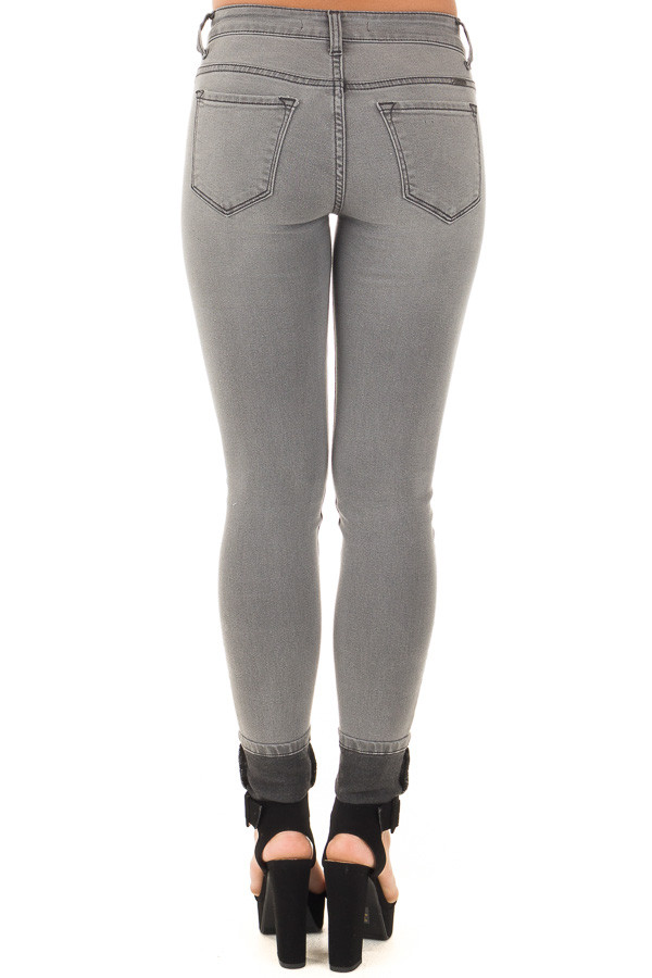 Grey Denim Mid Rise Ankle Skinny Jean back view