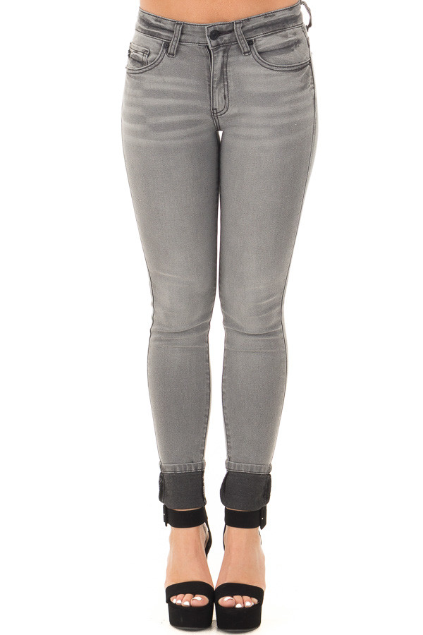 Grey Denim Mid Rise Ankle Skinny Jean front view