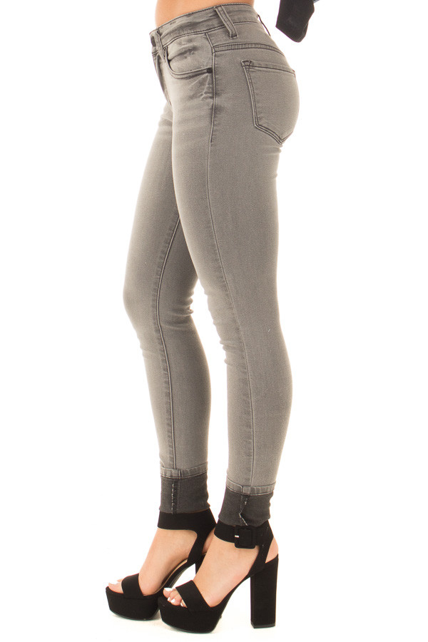 Grey Denim Mid Rise Ankle Skinny Jean side right leg