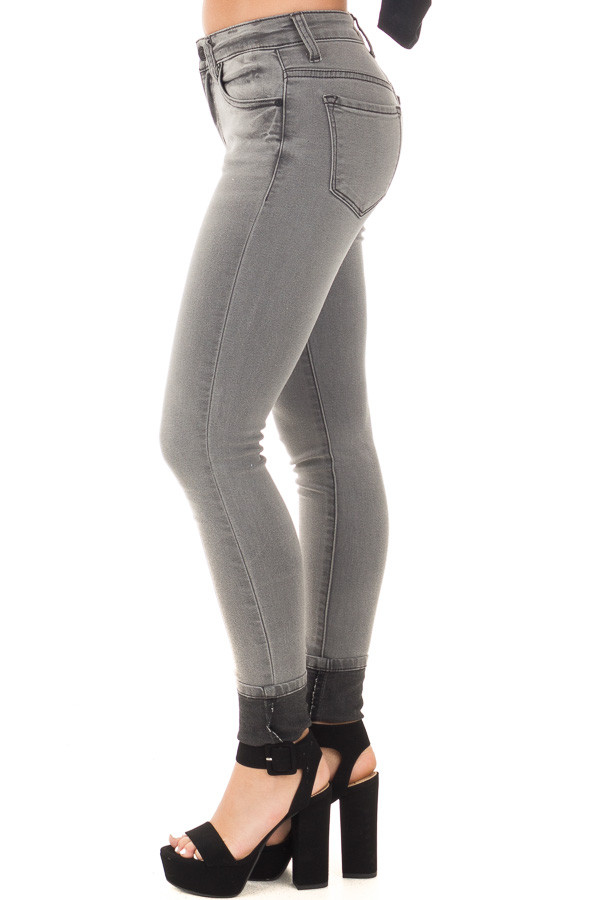 Grey Denim Mid Rise Ankle Skinny Jean side left leg