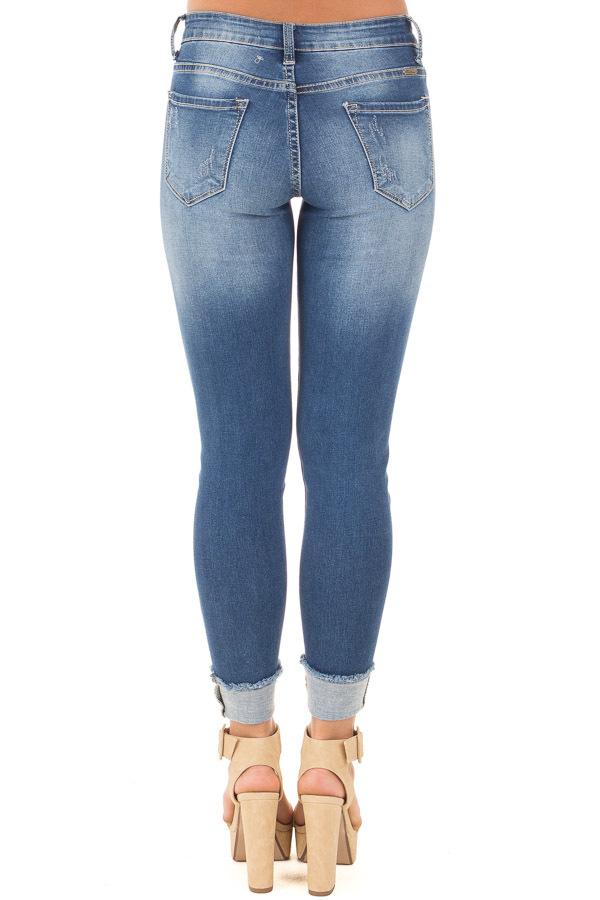 Blue Medium Wash Denim Distressed Cuffed Capri back view