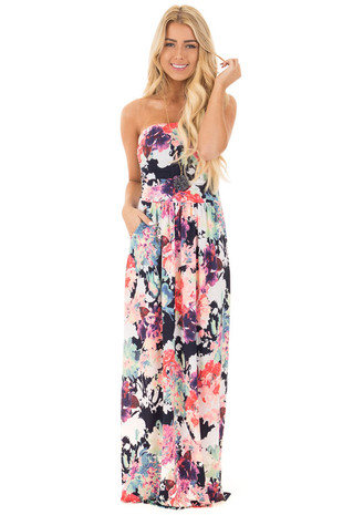 Navy Floral Strapless Empire Waist Maxi Dress front full body
