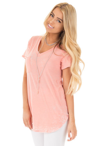 Faded Blush Jersey V Neck Tee with Front Pocket front close up