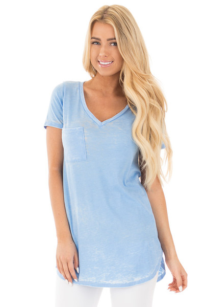 Faded Sky Blue Jersey V Neck Tee with Front Pocket front close up