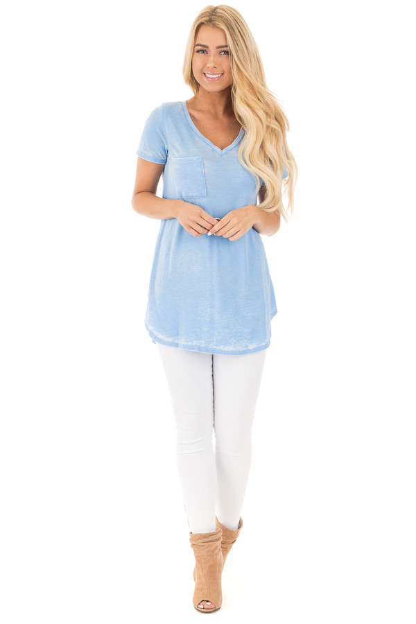 Faded Sky Blue Jersey V Neck Tee with Front Pocket front full body