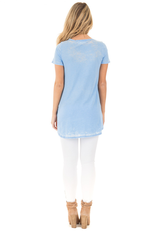 Faded Sky Blue Jersey V Neck Tee with Front Pocket back full body