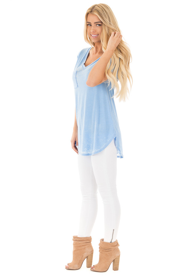 Faded Sky Blue Jersey V Neck Tee with Front Pocket side full body