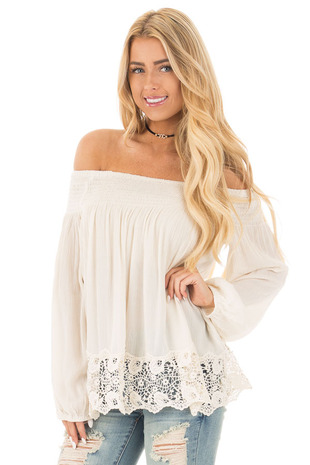 Vanilla Off Shoulder Blouse with Lace Trim Details front close up