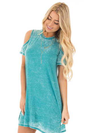 Washed Jade Cold Shoulder Short Sleeve Tunic Dress front close up