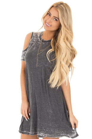 Washed Charcoal Cold Shoulder Short Sleeve Tunic Dress front close up