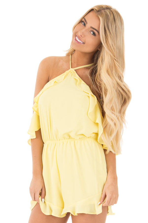 Daffodil Cold Shoulder Halter Romper with Ruffle Details front close up