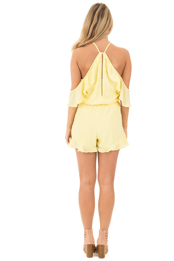Daffodil Cold Shoulder Halter Romper with Ruffle Details back full body