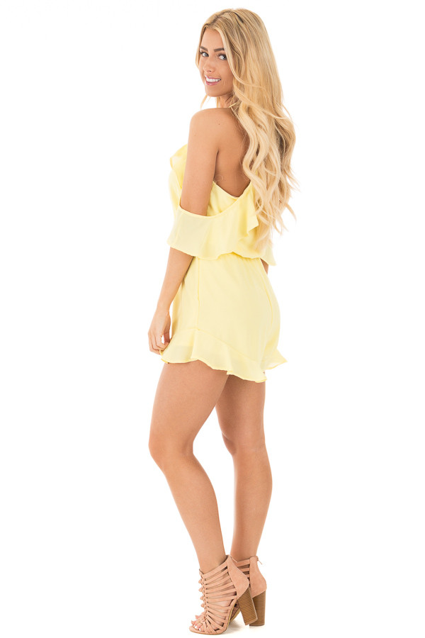 Daffodil Cold Shoulder Halter Romper with Ruffle Details side full body
