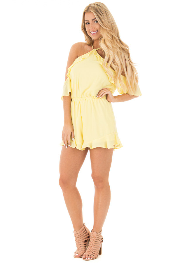 Daffodil Cold Shoulder Halter Romper with Ruffle Details front full body