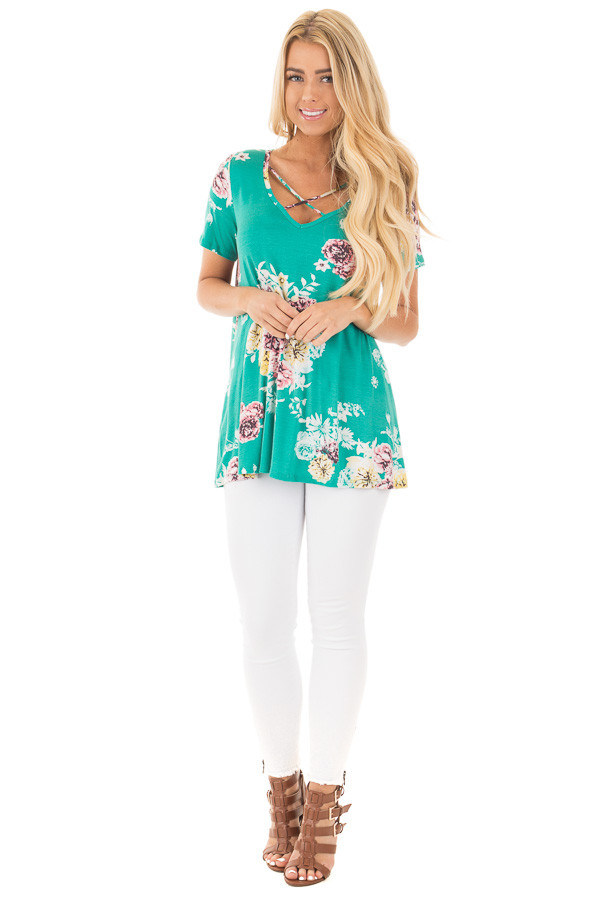Aqua Floral Cap Sleeve Criss Cross Top front full body