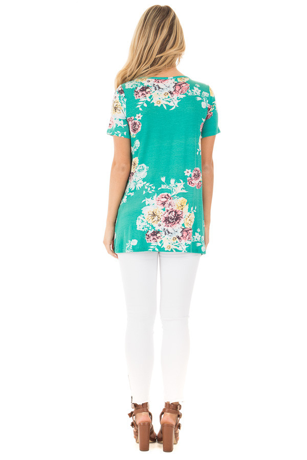 Aqua Floral Cap Sleeve Criss Cross Top back full body