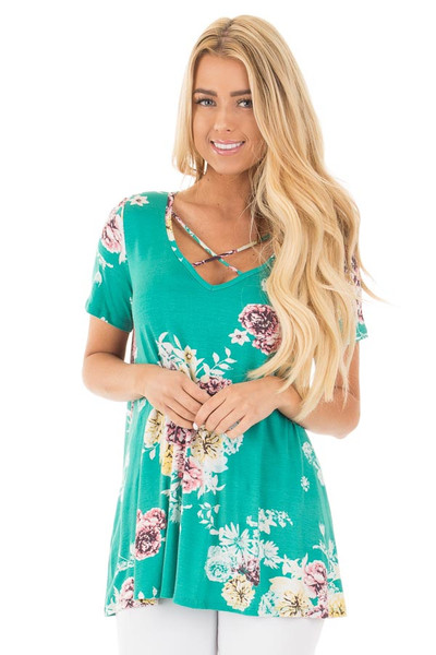 Aqua Floral Cap Sleeve Criss Cross Top front close up
