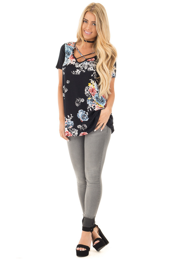 Midnight Black Floral Cap Sleeve Criss Cross Top front full body