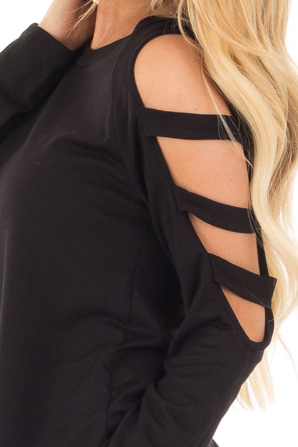 Black Long Sleeve Top with Ladder Cut Out Detail detail