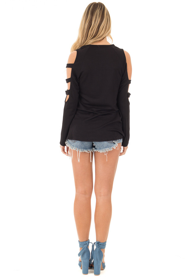 Black Long Sleeve Top with Ladder Cut Out Detail back full body