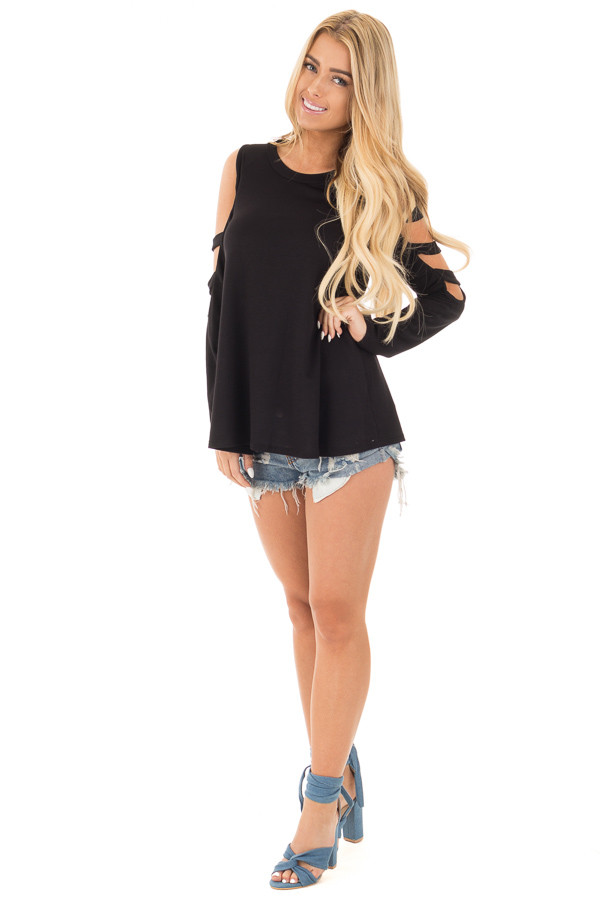 Black Long Sleeve Top with Ladder Cut Out Detail front full body