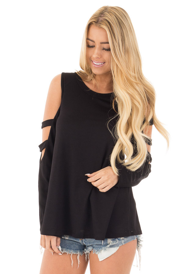 Black Long Sleeve Top with Ladder Cut Out Detail front close up