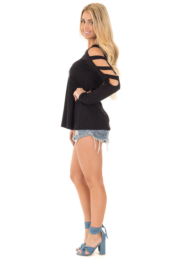 Black Long Sleeve Top with Ladder Cut Out Detail side full body